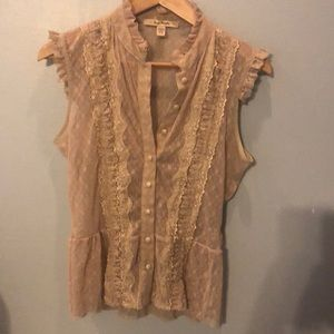 Free people sheer lace button down size M
